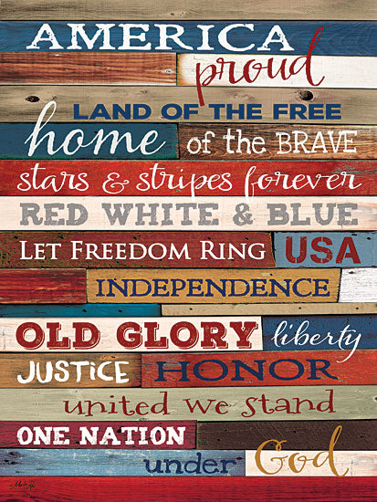 Marla Rae MA1093GP - America Proud - America, Typography, USA, Americana, Wood Planks from Penny Lane Publishing