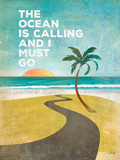 Marla Rae MA1147GP - The Ocean is Calling - Ocean, Palm Tree, Sun, Beach, Sand, Coast from Penny Lane Publishing