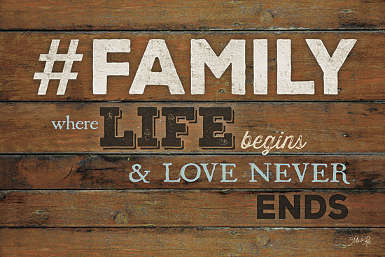 Marla Rae MA1198GP - #FAMILY - Where Life Begins - Hashtag, Family, Love, Wood Planks from Penny Lane Publishing