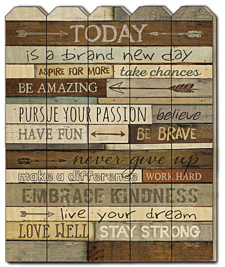 Marla Rae MA2030PF - Today is a Brand New Day - Today, Verse, Inspirational, Motivating, Inspiring, Wood Slats, Vertical, Picket Fence, Typography from Penny Lane Publishing