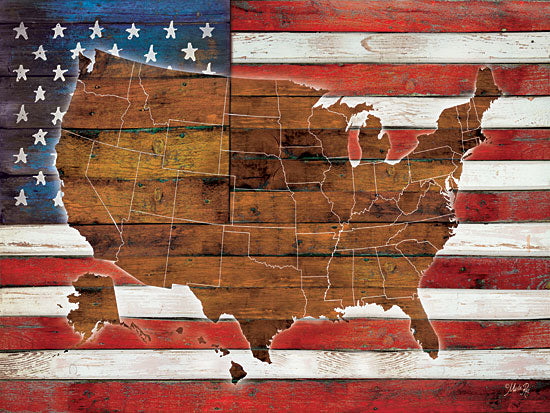 Marla Rae MA2075 - American Flag USA Map  - Flag, USA, America, Continent from Penny Lane Publishing