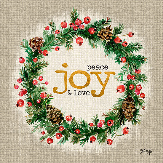 Marla Rae MA2170GP - Peace, Joy, & Love - Holidays, Signs, Joy, Wreath, Berries from Penny Lane Publishing