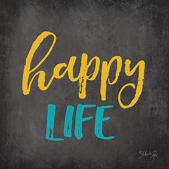 Marla Rae MA2378GP - Happy Life - Chalkboard, Happy from Penny Lane Publishing