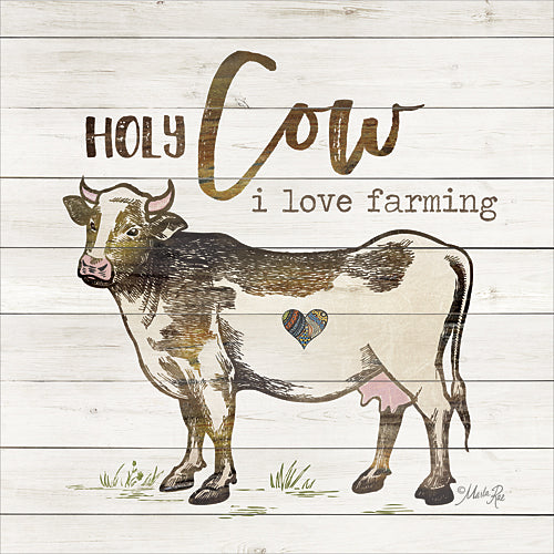 Marla Rae MA2399aGP - Holy Cow I Love Farming - Cow, Sign, Animals, Humor, Farm Life from Penny Lane Publishing