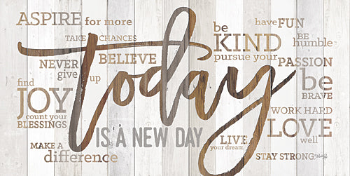 Marla Rae MA2460GP - Today is a New Day - Compliements, Wood, Signs, Inspirational, Typography from Penny Lane Publishing