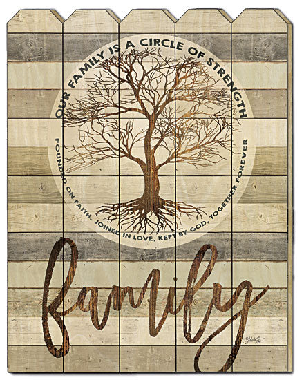 Marla Rae MA2497PF - Family -  Circle of Strength - Family, Verse, Inspirational, Motivating, Tree, Decorative, Wood Slats, Vertical, Picket Fence, Typography from Penny Lane Publishing