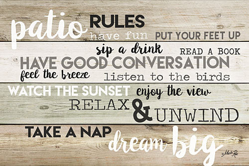 Marla Rae MA2586 - Patio Rules  - Patio, Rules, Typography, Signs from Penny Lane Publishing