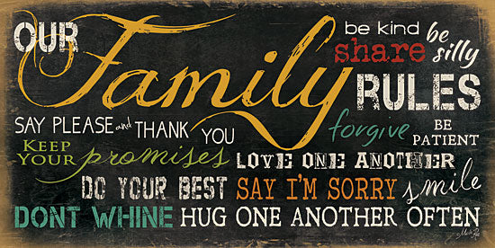 Marla Rae MA679B - Family Rules - Family, Rules, Typography, Signs from Penny Lane Publishing