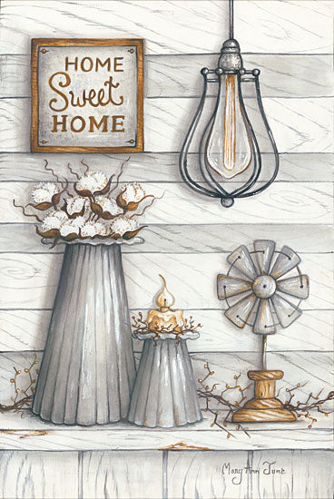 Mary Ann June MARY509 - Home Sweet Home Home Sweet Home, Gray & White, Windmill, Cotton, Candles from Penny Lane