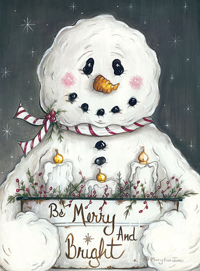 Mary Ann June MARY513 - Merry and Bright Snowman Snowman, Candles, Merry and Bright, Snow, Night from Penny Lane