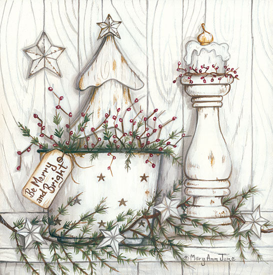 Mary Ann June MARY514 - Be Merry and Bright Country French, Still Life, Holidays, Berries, Pine Sprigs, Candles from Penny Lane
