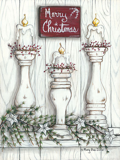 Mary Ann June MARY515 - Merry Christmas Holidays, Candles, Berries, Pine Sprigs, Barn Stars from Penny Lane