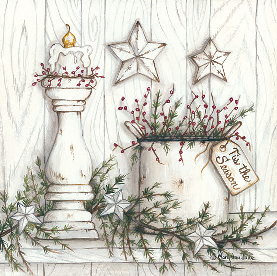 Mary Ann June MARY516 - Tis the Season Holidays, Candles, Berries, Pine Sprigs, Barn Stars, Tis the Season from Penny Lane