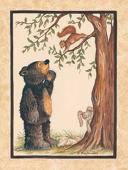 Mary Ann June MARY517 - Surprise Bear, Bear Cub, Squirrel, Tree, Baby, Forest from Penny Lane