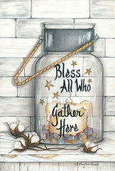 MARY521 - Glass Luminary Bless All Who Gather - 12x18
