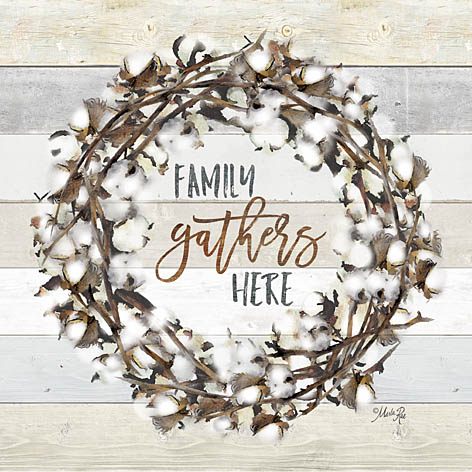 Marla Rae MAZ5001GP - Family Gather Here Cotton Wreath - Family, Cotton, Wreath, Wood Planks from Penny Lane Publishing