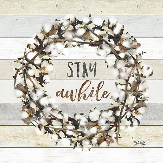 Marla Rae MAZ5002GP - Stay Awhile Cotton Wreath - Cotton, Wreath, Signs from Penny Lane Publishing