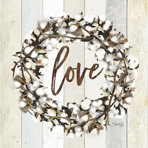 Marla Rae MAZ5003GP - Love Cotton Wreath - Inspirational, Wood Planks, Cotton, Love from Penny Lane Publishing