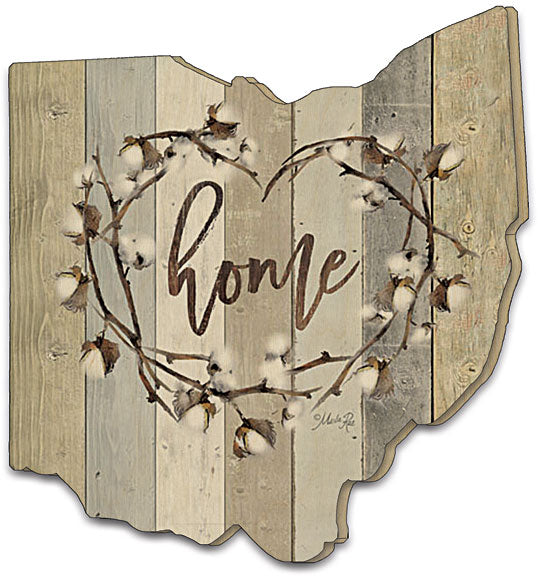 Marla Rae MAZ5025OH - Home Cotton Wreath - Home, Cotton, Wreath, Calligraphy, Typography, Wood Slats, Ohio, Wood Cutout from Penny Lane Publishing