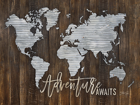 Marla Rae MAZ5028GP - Adventure Awaits Metal Map - Adventure, Galvanized Metal, World Map, Continents from Penny Lane Publishing