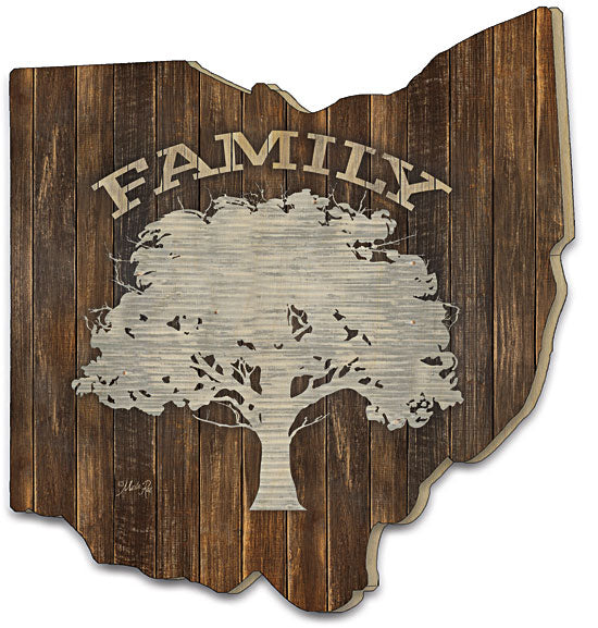 Marla Rae MAZ5034OH - Metal Family Tree - Family, Tree, Galvanized Metal, Wood, Typography, Family Tree, Ohio Cutout from Penny Lane Publishing