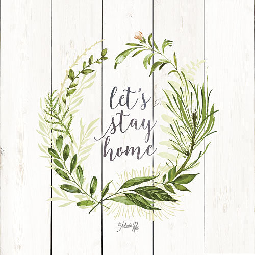 Marla Rae MAZ5067 - Let's Stay Home Wreath - Typography, Leaves, Wreath, Inspirational from Penny Lane Publishing