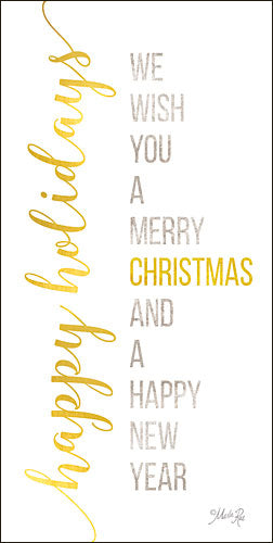 Marla Rae MAZ5122A - Happy Holidays - Typography, Gold, Holiday from Penny Lane Publishing