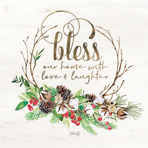 Marla Rae MAZ5153GP - Bless Our Home Christmas Foliage - Bless, Holidays, Greenery, Pine Cones, Cotton, Wreath from Penny Lane Publishing