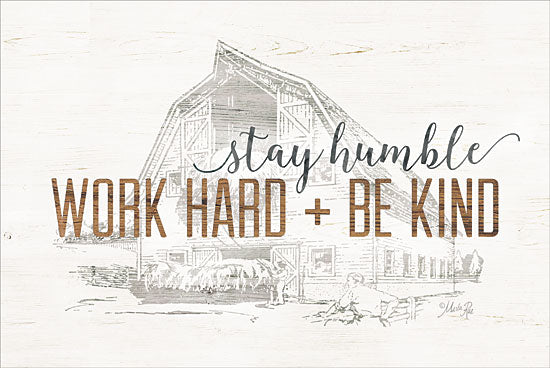 Marla Rae MAZ5164GP - Work Hard + Be Kind - Be Kind, Barn, Sketches, Farm from Penny Lane Publishing