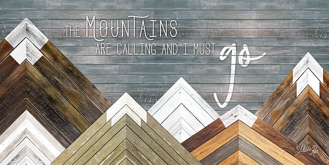Marla Rae MAZ5168 - The Mountains are Calling and I Must Go - Mountains, Wood Inlay, Neutral from Penny Lane Publishing