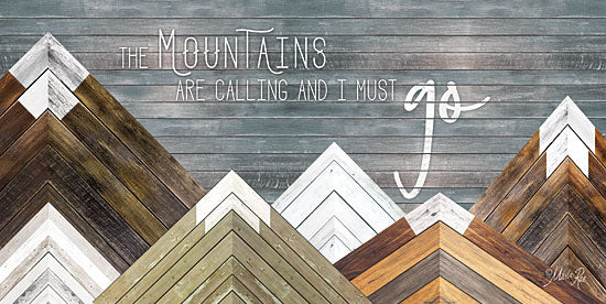 Marla Rae MAZ5168GP - The Mountains are Calling and I Must Go - Mountains, Wood Inlay, Neutral from Penny Lane Publishing