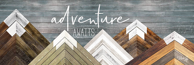 Marla Rae MAZ5170 - Adventure Awaits - Mountains, Wood Inlay, Neutral, Adventure from Penny Lane Publishing