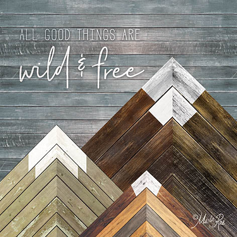 Marla Rae MAZ5171 - Wild & Free - Mountains, Wood Inlay, Neutral from Penny Lane Publishing