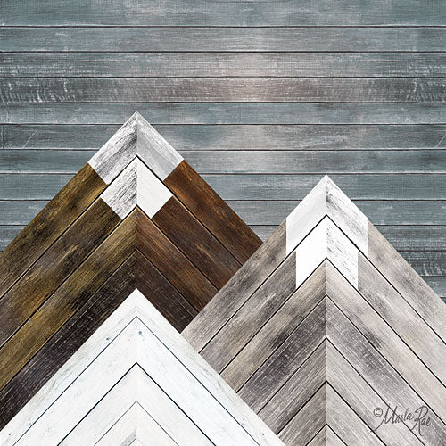 Marla Rae MAZ5175GP - Wood Inlay Mountains I - Wood Inlay, Snow-caped Mountains from Penny Lane Publishing