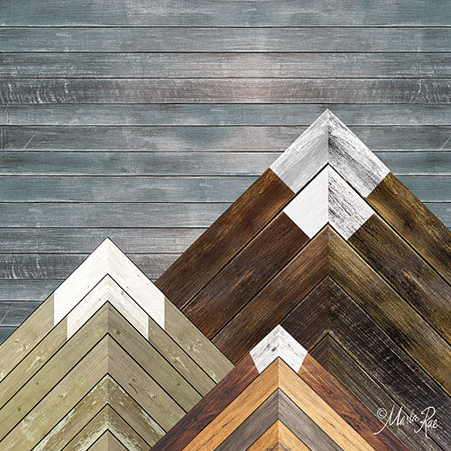 Marla Rae MAZ5176GP - Wood Inlay Mountains II - Wood Inlay, Snow-caped Mountains from Penny Lane Publishing