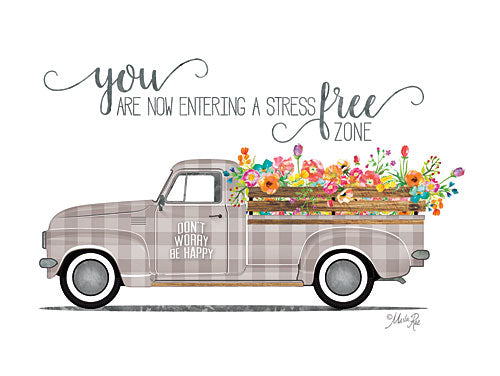 Marla Rae MAZ5184GP - Be Happy Vintage Truck - Flowers, Truck, Plaid, Signs from Penny Lane Publishing