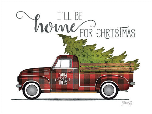 Marla Rae MAZ5188GP - Home for Christmas Vintage Truck - Holiday, Truck, Plaid, Christmas Trees, Home from Penny Lane Publishing