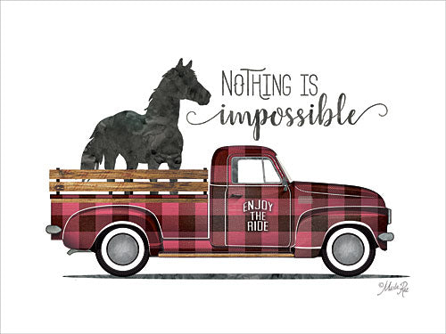 Marla Rae MAZ5189GP - Nothing is Impossible Vintage Truck - Horse, Truck, Plaid, Signs from Penny Lane Publishing