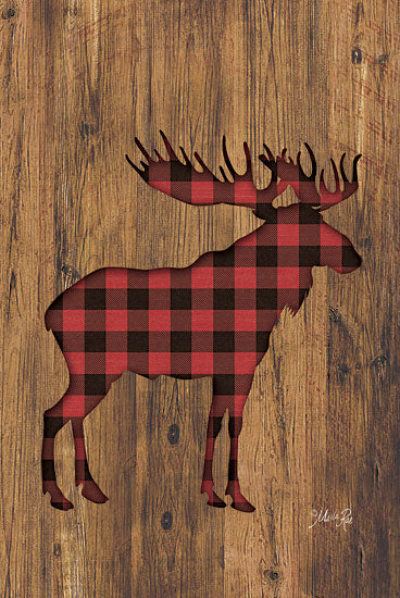 Marla Rae MAZ5197GP - Buffalo Plaid Moose - Moose, Plaid, Silhouette, Wood from Penny Lane Publishing