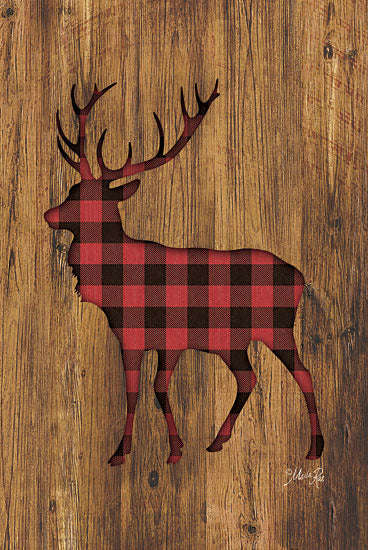 Marla Rae MAZ5198GP - Buffalo Plaid Deer - Deer, Plaid, Silhouette, Wood from Penny Lane Publishing
