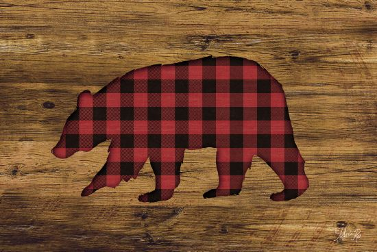 Marla Rae MAZ5200GP - Buffalo Plaid Bear - Buffalo, Bear, Plaid, Wood from Penny Lane Publishing