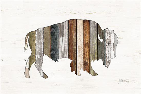 Marla Rae MAZ5201GP - Wood Slat Bison - Bison, Wood Planks from Penny Lane Publishing