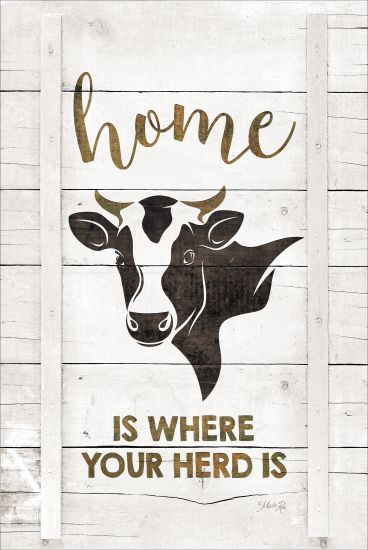 Marla Rae MAZ5220GP - Home is Where Your Herd Is - Home, Cow, Silhouette, Wood Planks from Penny Lane Publishing