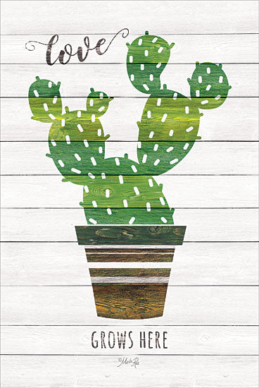 Marla Rae MAZ5225GP - Love Grows Here - Cactus, Southwest, Pots, Love Grows Here from Penny Lane Publishing