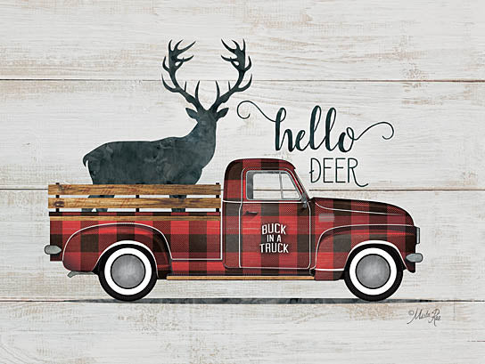 Marla Rae MAZ5244 - Hello Deer Vintage Truck - Truck, Deer, Plaid, Hello from Penny Lane Publishing