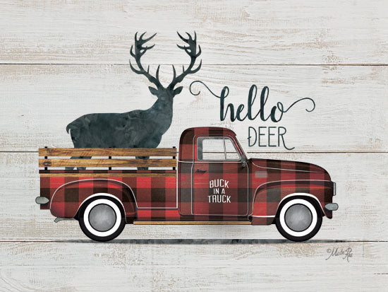 Marla Rae MAZ5244GP - Hello Deer Vintage Truck - Truck, Deer, Plaid, Hello from Penny Lane Publishing