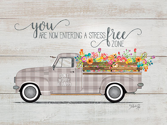 Marla Rae MAZ5358 - Be Happy Vintage Truck   - 16x12 Be Happy Vintage Truck, Antiques, Flowers, Shiplap, Truck, Calligraphy, Plaid from Penny Lane