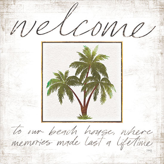 Marla Rae MAZ5492 - MAZ5492 - Welcome Palm Trees - 12x12 Welcome, Palm Trees, Coastal, Tropical, Trees from Penny Lane