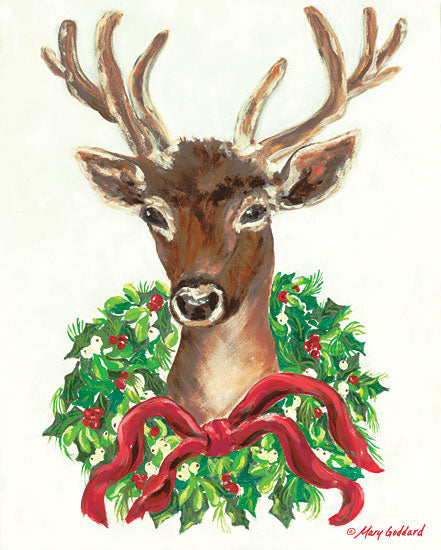 Mary Goddard MG109 - Christmas Buck - 12x16 Holiday, Wreaths, Ribbons, Buck, Deer from Penny Lane
