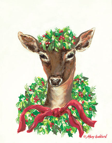 Mary Goddard MG110 - Christmas Doe - 12x16 Holiday, Wreaths, Ribbons, Doe, Deer from Penny Lane